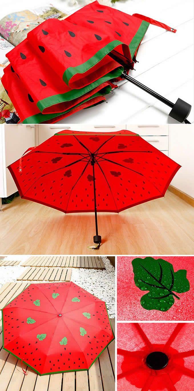 Watermelon Style Anti UV Windproof 3 Folding Umbrella