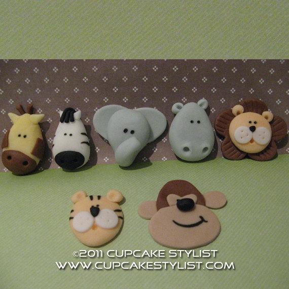 Fondant animal cupcake toppers