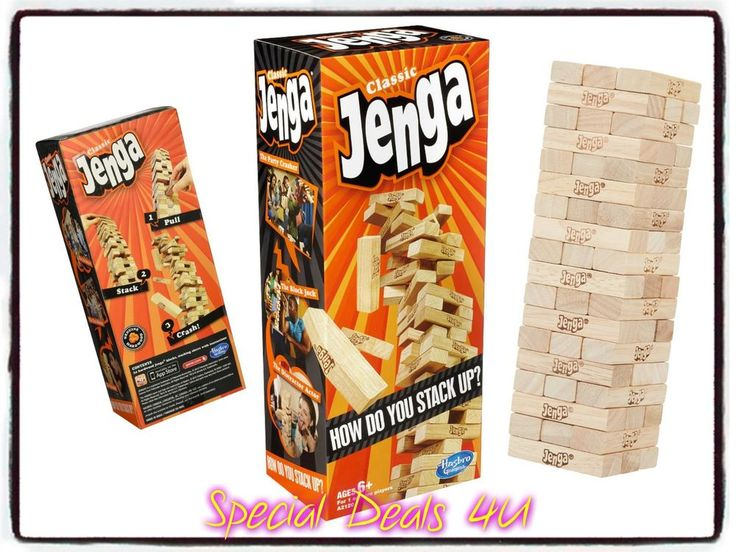 Jenga Classic Game 54 Blocks Wooden Stacking Family Fun Party Tower Building New #Hasbro