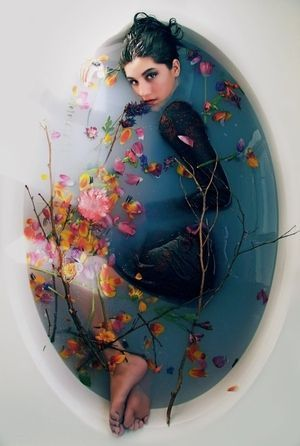 girl lady flowers flower bath water