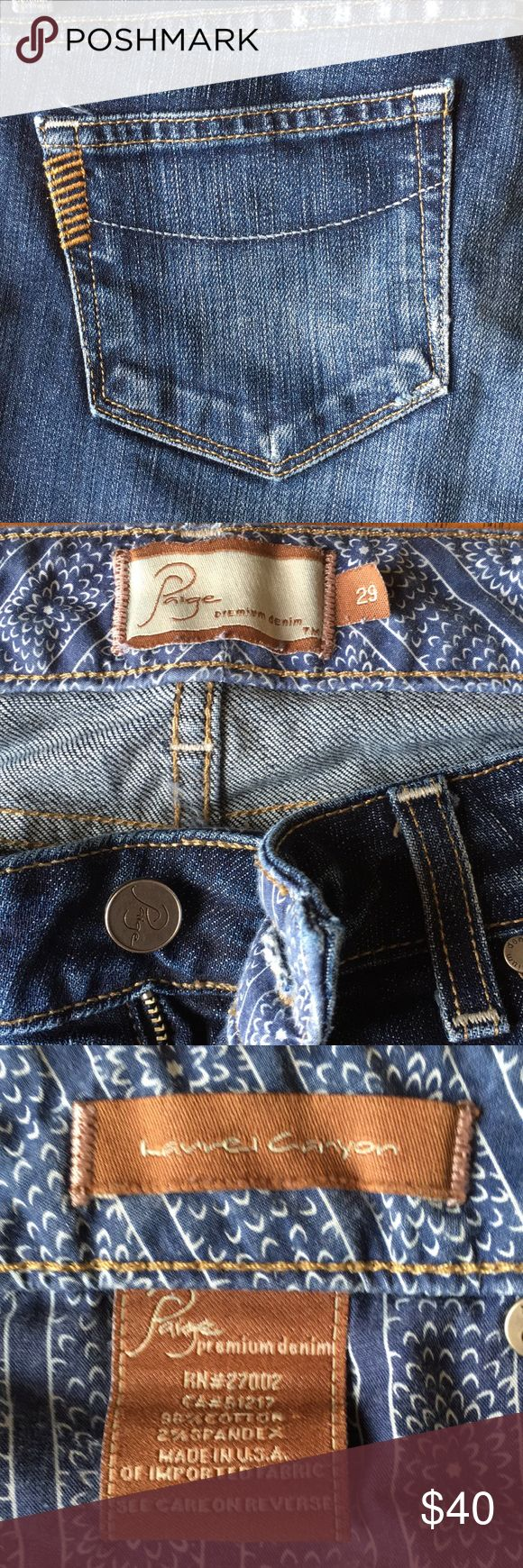 """Paige Premium Denim Laurel Canyon bootcut jeans Originally purchased at Nordstrom. Low to mid waisted. Inseam 32"""" Paige Jeans Jeans Boot Cut"""