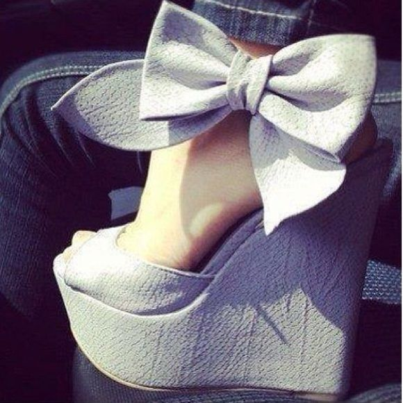 Bow wedges Lavender bow wedges sold recently was damaged through shipping there's  glue and scuff marks on the shoes only used one time for my bridal shower shoes comes as is with damages Penny loves kenny  Shoes Wedges