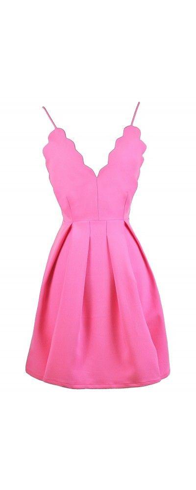 Lily Boutique Caity Scallop A-Line Party Dress in Hot Pink , $38 Hot Pink Party Dress, Cute Pink Dress, Pink A-Line Dress, Scalloped Party dress, Cute Summer Dress, Pink Sundress www.lilyboutique.com