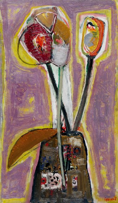Lea Nikel Lea Nikel 2005 - 1918 Flowers, Oil on canvas, 55x32 cm., Signed. The authenticity of the painting has been confirmed by Mrs. Mira...