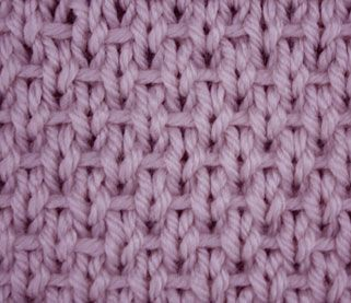 "The ribboned stockinette is an easy reversible stitch created with simple knit, purl and slip stitches. It got its name from the horizontal lines of yarn running through the right side rows. This stitch is remarkable also because its ""wrong"" side can be seen by many as more beautiful than the right side."
