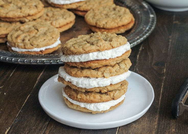 Peanut Butter Oatmeal Sandwich Cookies with Marshmallow Crème Filling  - would even be good without the creme filling