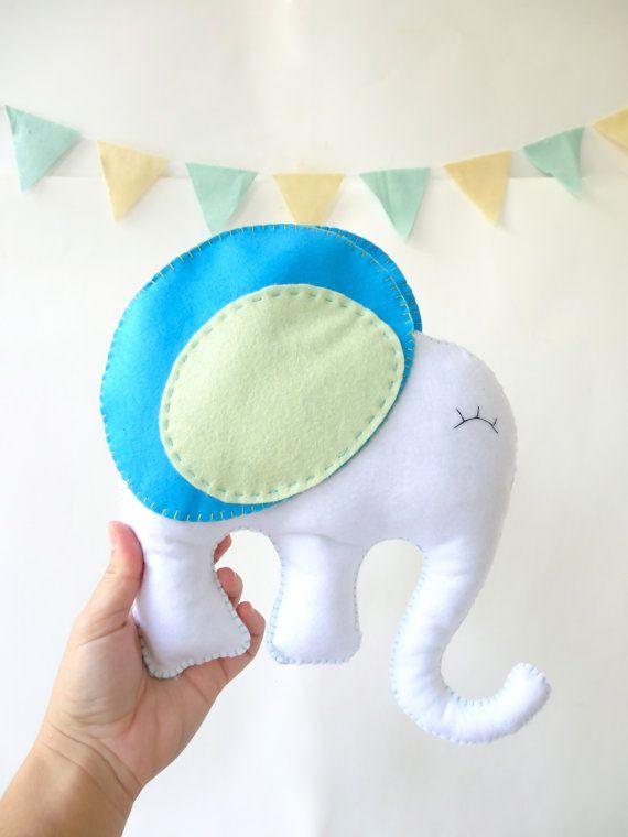 Elephant Stuffed Animal Felt elephant Toy by LaPetiteMelina, $25.00
