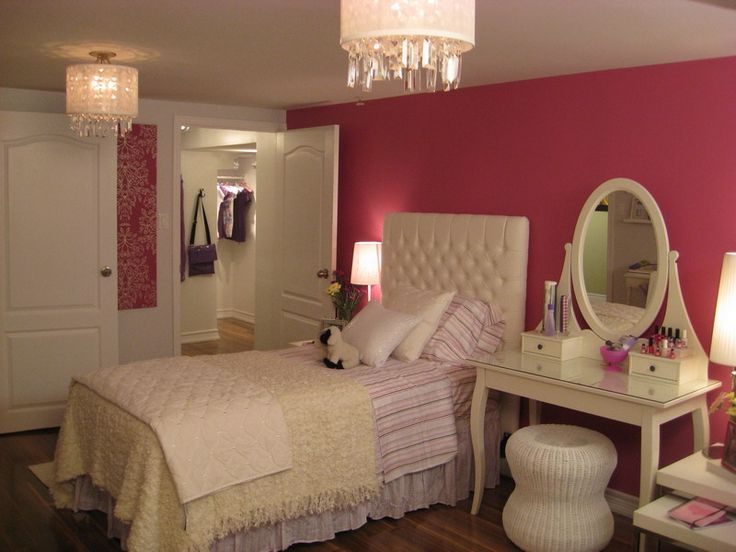 Single woman bedroom idea--maybe larger bed, but I like the vanity by the bed. Doubles as a night stand