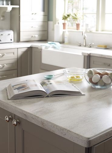 Vintage Inspired Kitchen With Corian Sea Salt From The Martha Stewart Living Collection Countertops