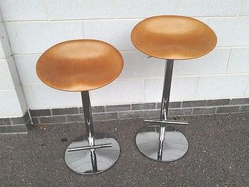 Seriously good quality stools with beech seats and heavy chrome base with footrest.