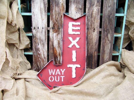 Vintage rood wit Exit manier uit gebogen pijl Marquee teken, man grot, home decor, pijl, vintage teken, vintage pijl teken