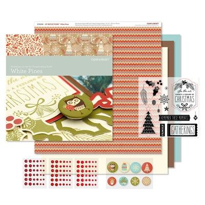 Close To My Heart Workshops on the Go® White Pines Scrapbooking Kit Contents:  1 – My Reflections™ White Pines Paper Packet (X7200B) 1 – My Acrylix® White Pines Workshop Stamp Set (D-size) 4 – Cardstock Sheets (2 Colonial White, 1 Chocolate, 1 Glacier) 1 – White Pines Assortment (Z3077) 1 – Red Enamel Gems (Z3090) 1 – Instructional Brochure Featured Colors: Chocolate, Cranberry, Fern, Colonial White  Use the materials and instructions in this kit to create two beautiful 2-page layouts…