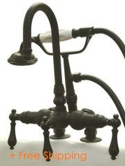 """Kingston Brass Vintage 3-3/8"""" Deck Mount Clawfoot Tub Filler with Hand Shower Oil Rubbed Bronze CC13T5"""