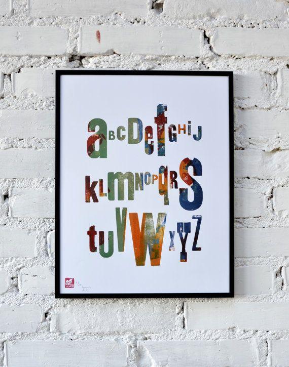 Multicolour alphabet  letterpress poster by AtelierPoltorak