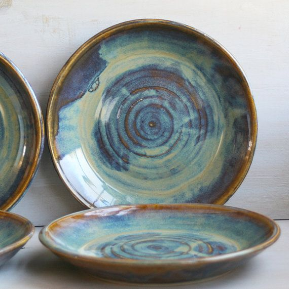 Ceramic Dinnerware Dishes Rustic Water Color Glaze Handmade Set of Four Rustic Stoneware Plates Green and Brown Pottery Dinner Plates