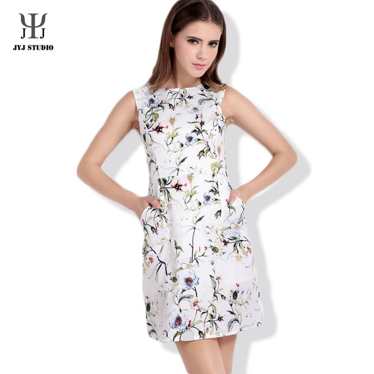 Aliexpress.com : Buy Summer Casual Sweet Loose Plus Size Dress For Women Sleeveless O Neck Polyester With Flower Printed One piece Dress from Reliable size 0 cocktail dress suppliers on JYJ STUDIO