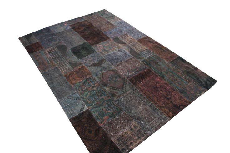donker groen bruin patchwork vloerkleed uit Iran
