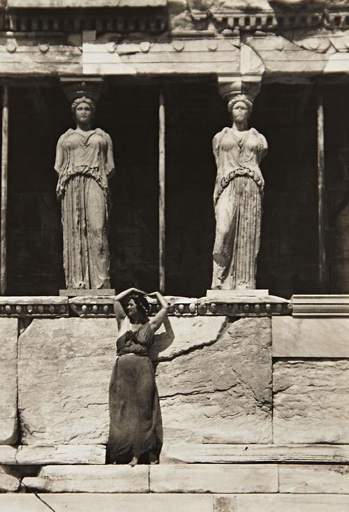 Isadora Duncan at the Acropolis, Athens, circa 1920.  To bring to life again the ancient ideal! I do not mean to say, copy it, imitate it; but to breathe its life, to recreate it in one's self, with personal inspiration: to start from its beauty and then go toward the future. (Duncan, The Art of the Dance, 96.)