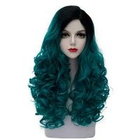 Wish | CosplayMixLolita Turquoise Green Mixed Black 24 Inches/60CM Long Curly Fashion Girls Party Cosplay Wig+Cap