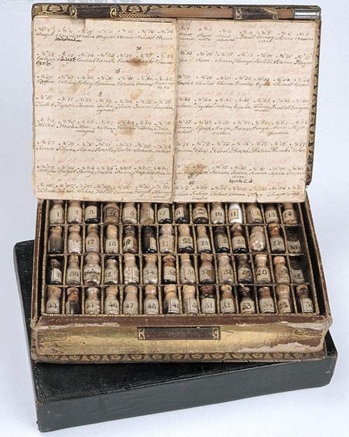 ca. 1820, [Homoeopathic medicine case in form of a pocket-book containing 112 different bottles of medicaments with list]    via the Museum of the History of Science