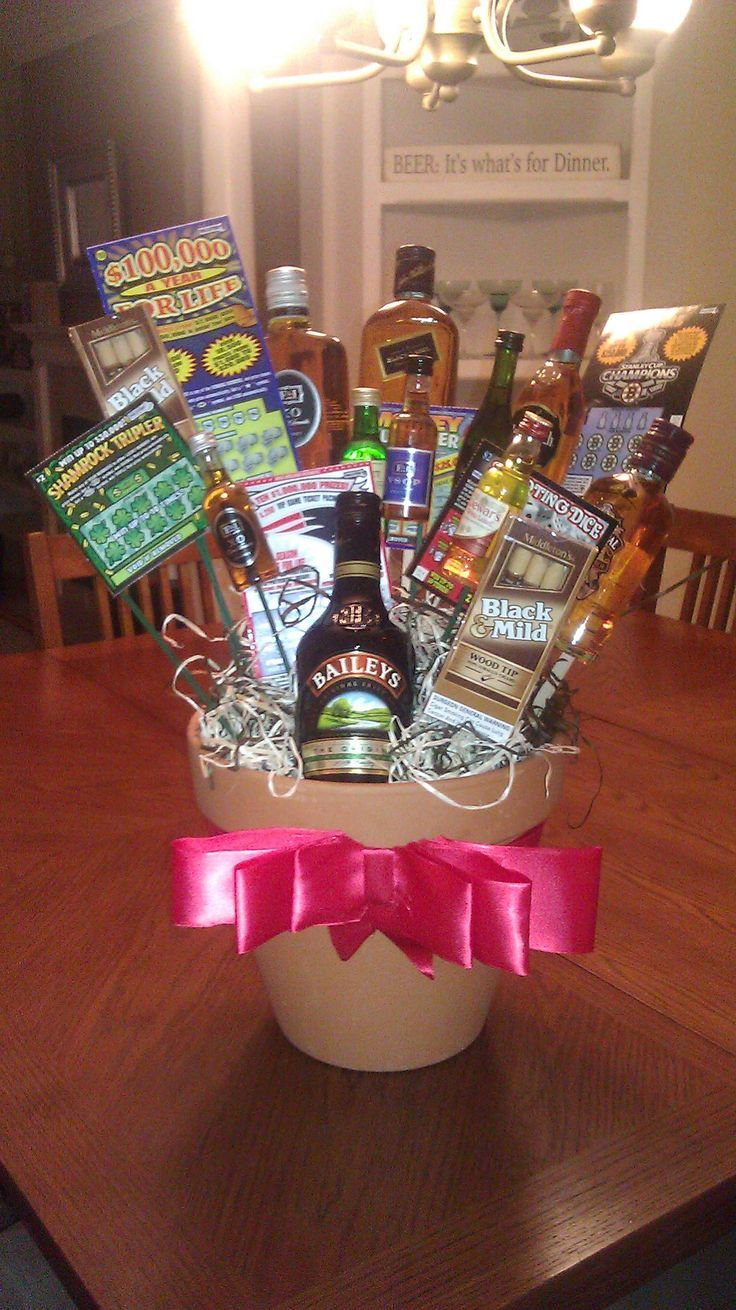 cute gift basket idea for guys for his birthday or