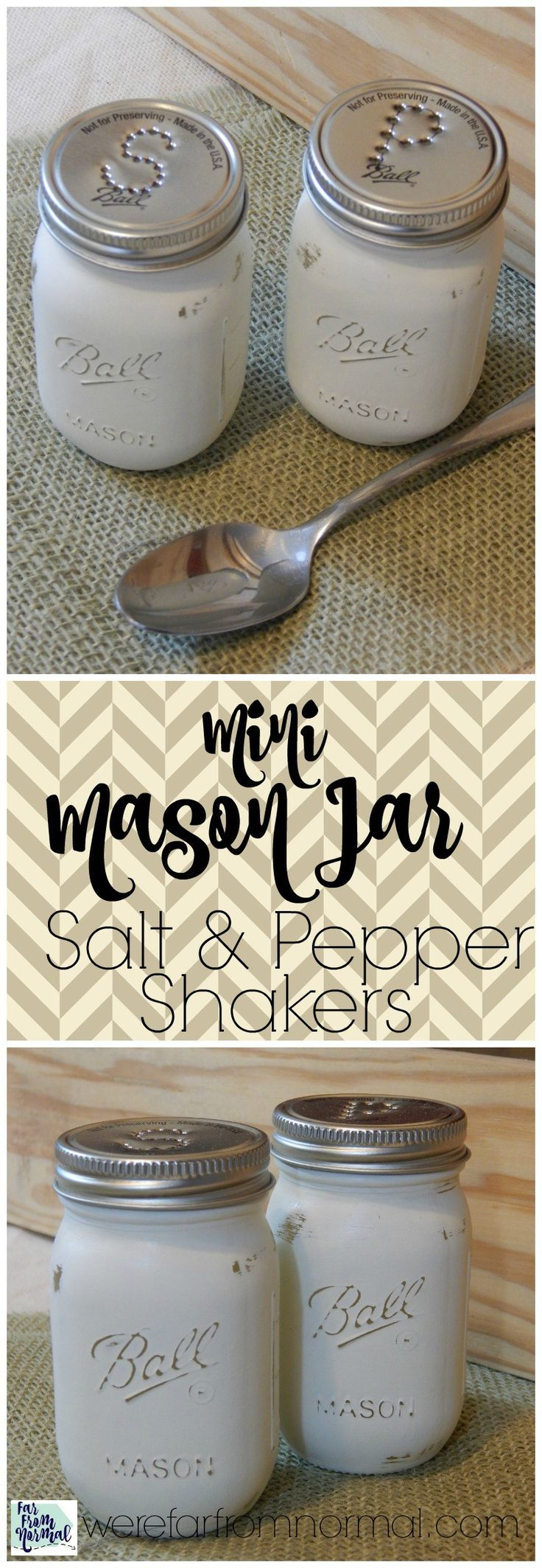 Do you love Mason jars? These little salt & pepper shakers are perfect for any Mason jar lover and a great addition to your kitchen!