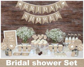 Rustic bridal shower decorations, Rustic bridal shower decors, bridal shower decorations, burlap bridal shower, Natural bridal shower by MagicPartyDesigns on Etsy https://www.etsy.com/listing/275214184/rustic-bridal-shower-decorations-rustic
