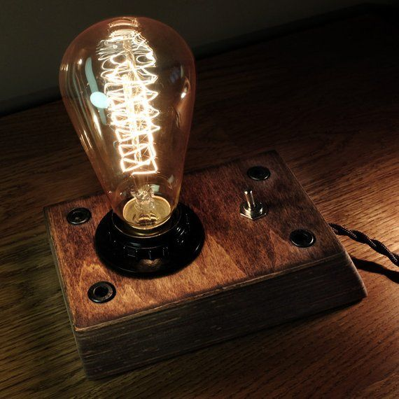 Edison Lamp Industrial Lamp Steampunk Lamp Wooden Edison Lamp Retro Edison Lamp Steampunk Lamp Edison Lamp Bulb