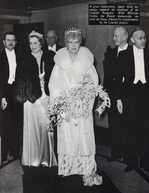 I've never seen this photo before. Queen Mary, wearing the diamond lozenge tiara with thirteen upright pearl spikes, and Lady Bessborough, wearing her lovely art deco tiara, which she sometimes lent to Rose Kennedy.