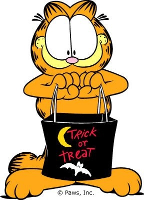 How I envision you, standing at my door. Trick or Treat Garfield...