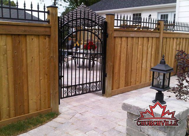 wrought iron and wood fence - Google Search                                                                                                                                                      More