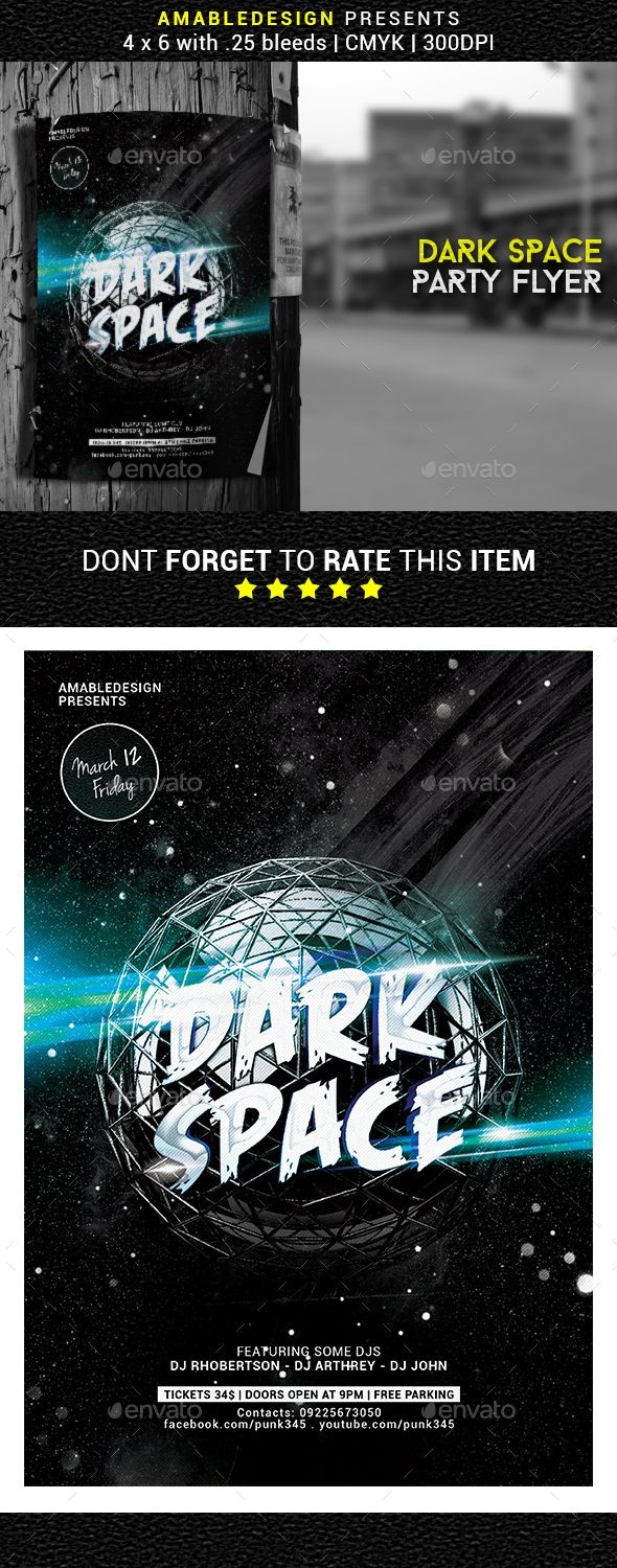 Dark Space Party Flyer Template PSD. Download here: http://graphicriver.net/item/dark-space-party-flyer/14810611?ref=ksioks