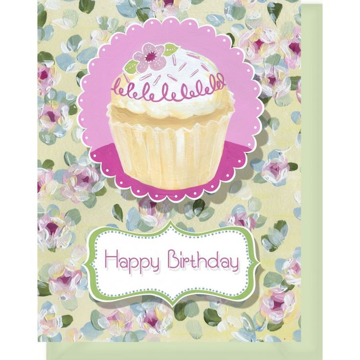images of flowers birthday card | Happy Birthday Card - Blank Inside - Pink & Yellow Flowers & Cupcake ...