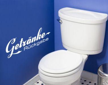 Wandtattoo Getränke Rückgabe - sehr beliebt im Badezimmer, aber auch in Bars, Kneipen und Restaurants.