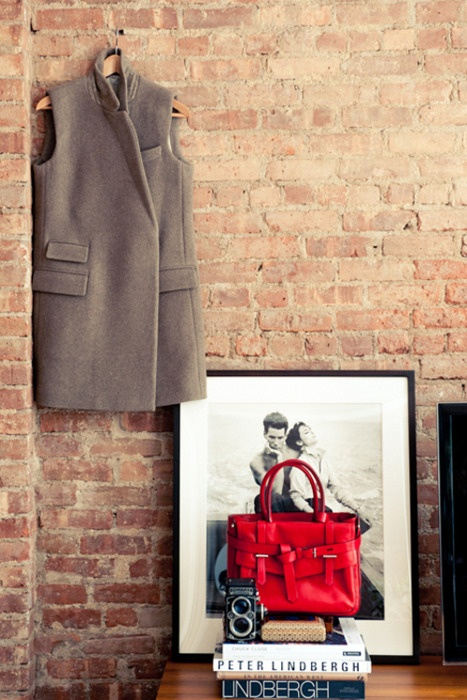 coat,bag,picture,booksStella Mccartney, Bricks Wall, Garance Doré, Personalized Style, Bedrooms Style, Exposed Brick, Reed Krakoff, Expo Bricks, Winter Coats