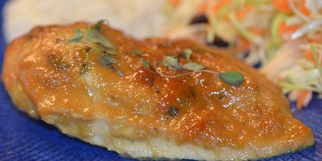 Kyllingefilet i fad med sennep og honning