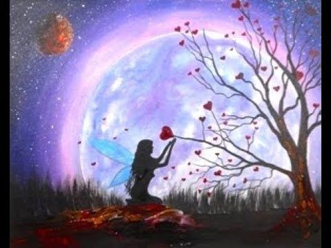 painting night sky beginners easy step silhouette fairy acrylic paintings canvas paint oil lesson
