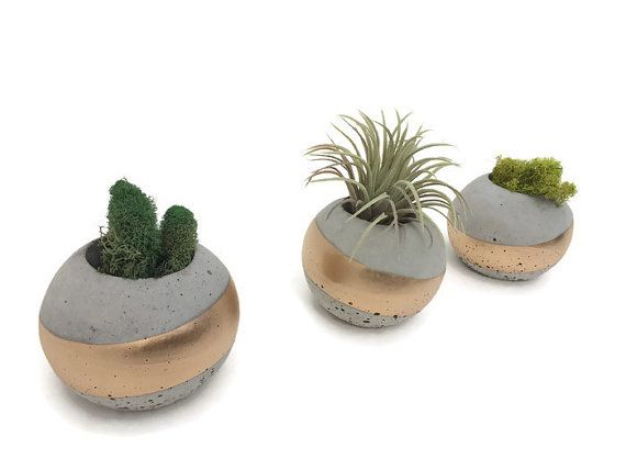 ORB Concrete Succulent Planters. Set of 3. GOLD. by UCdesign