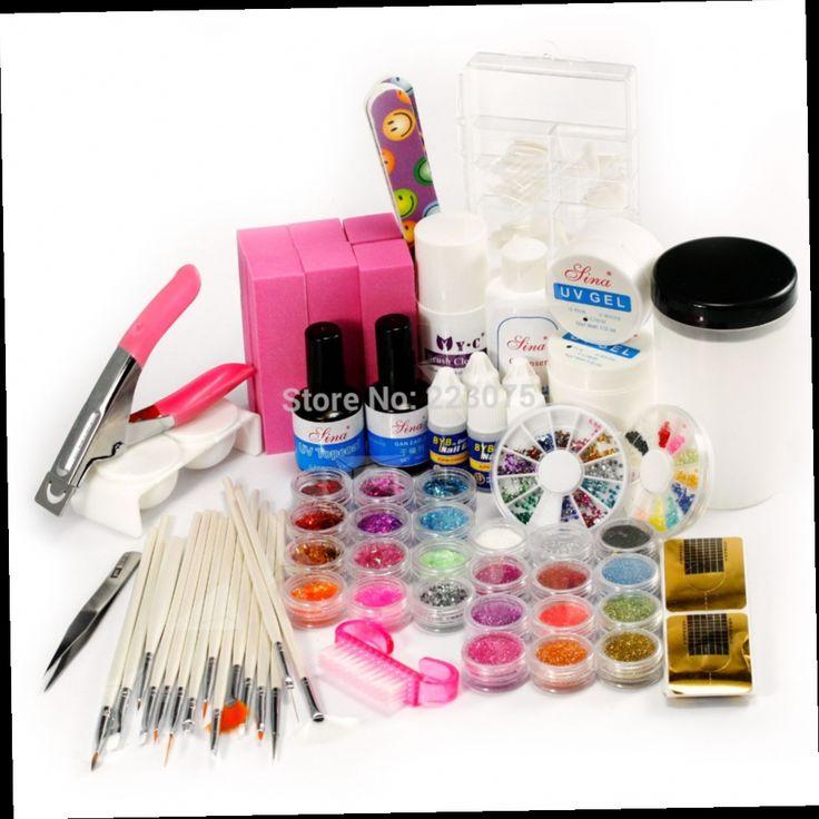 48.99$  Buy now - http://aliabt.worldwells.pw/go.php?t=32607364104 - New Real Pedicure Manicure Acrylic Nail Kit Hot 52 Full Set Nail Art Advanced Combo Uv Gel Brush Decoration Tips Kit 48.99$