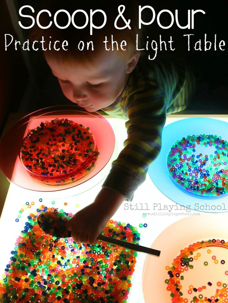 Scoop and Pour: Practical Life Serving Practice on the Light Table from Still Playing School