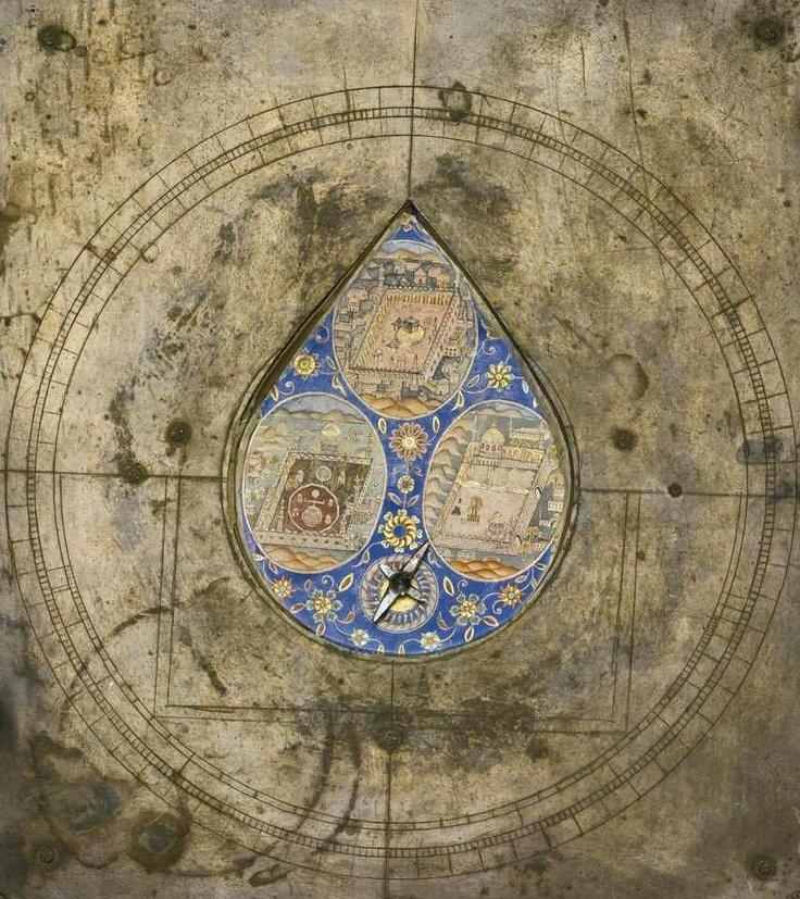 OTTOMAN QIBLA COMPASS, 18-19TH CENTURY (A Brass-mounted Wood Qibla Compass depicting the Holy Places, signed by 'al-'Abd Qahri, Istanbul) Bir Osmanlı Kıble Pusuları, 18-19. YY