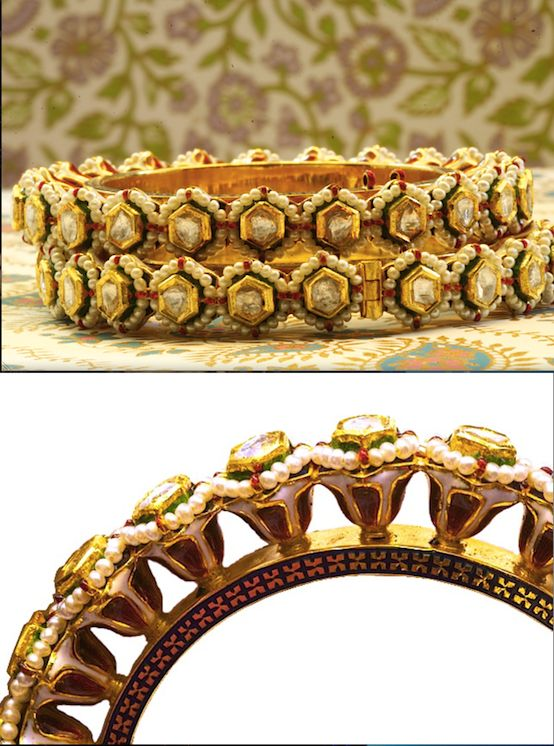 Patchelis :: These period pair of bangles are called Patchelis  in Bikaner. Ornate desi (local) Meenakari designs of complete flowers. Studded with stunning table-cut polki diamonds and basra pearls and made with 23K gold.  Handmade in Bikaner. SKU: 0004. Vintage. www.sannu.in