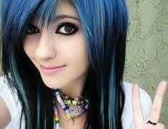 Blue black emo scene hair