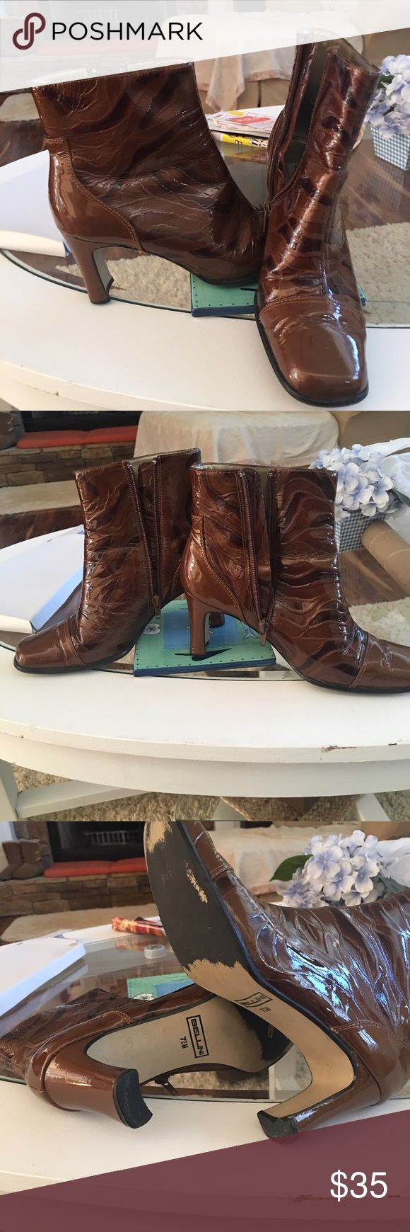 "Bellini  classy ankle boots Beautiful Balenie classy ankle boots and brown patent leather zip closure size 7 1/2  2 1/2 "" heel bellini Shoes Ankle Boots & Booties"