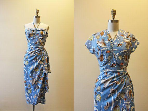 1940s Hawaiian Dress  Vintage 40s Silk Sarong Halter par jumblelaya