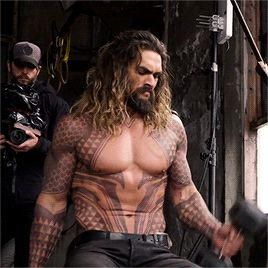 Jason Momoa on the set of Justice League (2017)