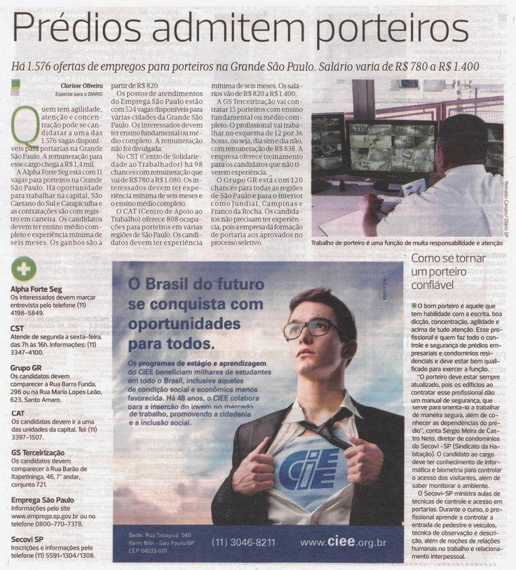 CURSO DE PORTEIRO PROFISSIONAL: PRÉDIOS ADMITEM PORTEIROS / OFERTAS DE EMPREGO