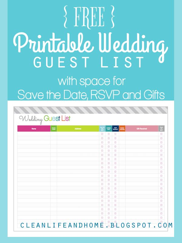 Free Printable Wedding Guest List And Checklist By Clean Life Home Includes E To