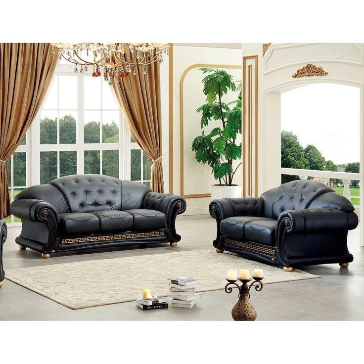 Luca Home Black Italian Leather Sofa And Loveseat Set (Black Italian Leather  Sofa And Loveseat Set)