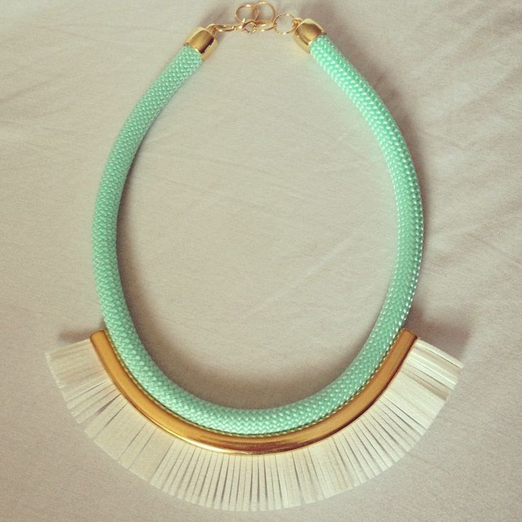 """The """"FRINGE"""" necklace in TURQOiSE with WHITE fringe + golden pleated clasp! INBOX or EMAIL about available colors for the rope and the fringe! Clasp also comes in silver!/Στείλτε Μήνυμα ή email για ερωτήσεις σχετικά με διαθέσιμα χρώματα στο σχοινί και τη τρεσα-κρόσι! Whole collection and INFO on--> http://www.facebook.com/thefthing"""